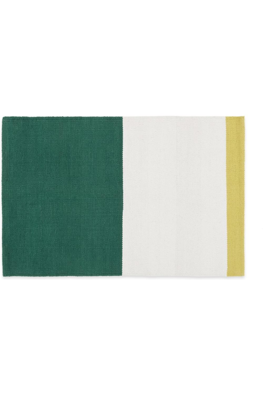 Colourblock Tapis De Bain 100 Coton Vert Blanc Et Jaune Bath Mat Cotton Green