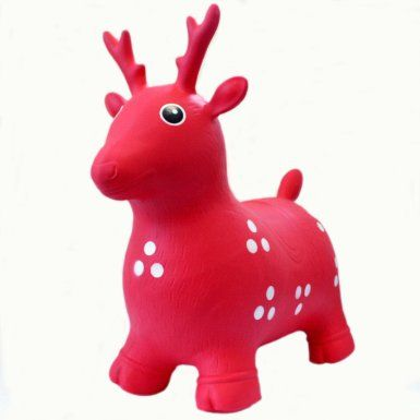 e321ddae86f Amazon.com  Ball Bounce And Sport Toys Deer Bouncer Inflatable Animal  Hopper - Red - Pump Included  Toys   Games