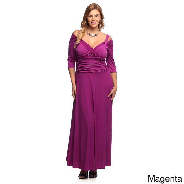 854ba9486178 Evanese Women s Plus Size 3 4-sleeve Long Dress - Overstock Shopping - Top