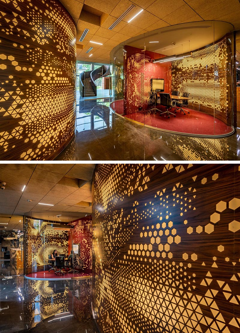 Perforated Walls Add Soft Light To This Office Environment Soft Lighting Curved Walls Cool Office Space