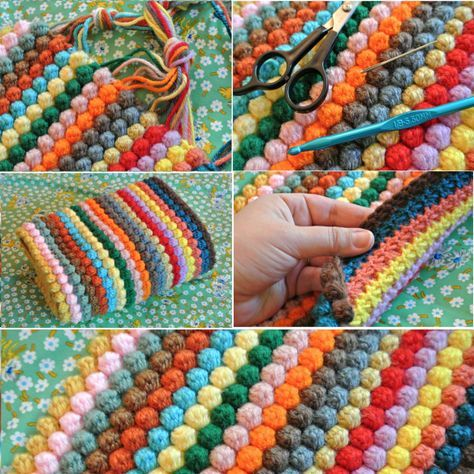 Crochet Bobble Stitch Rug Lots Of Free Patterns Youll Love