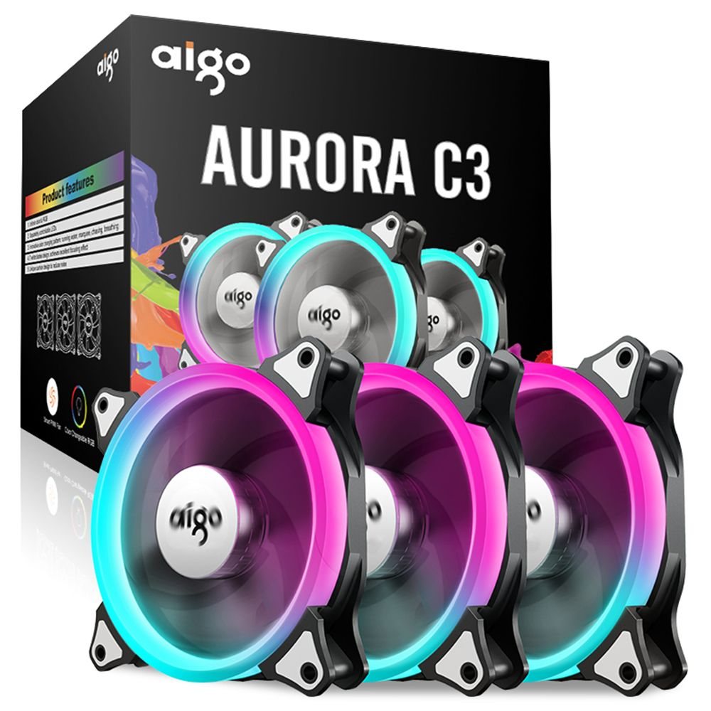 Aigo C3 3 Pack Pc Computer Case Cooler Cooling Rgb Led 120 Mm Low