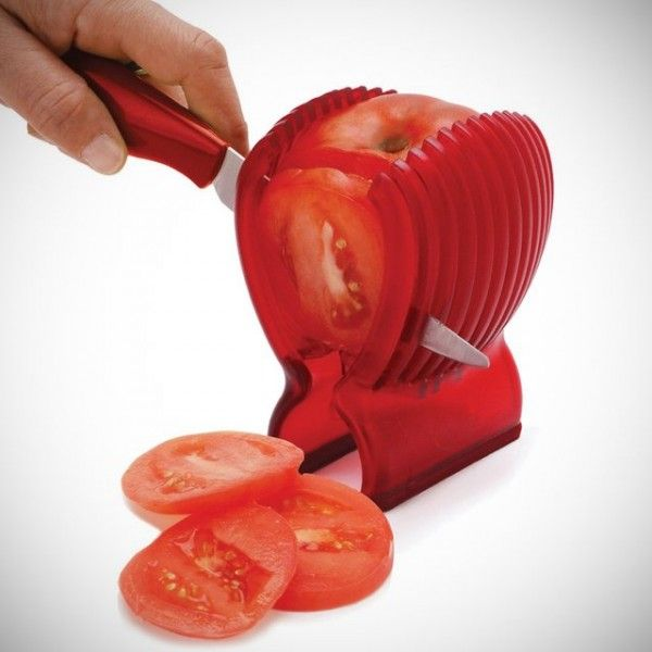 Tomato slicer cool kitchen gadget. Can use with potatoes and onions too