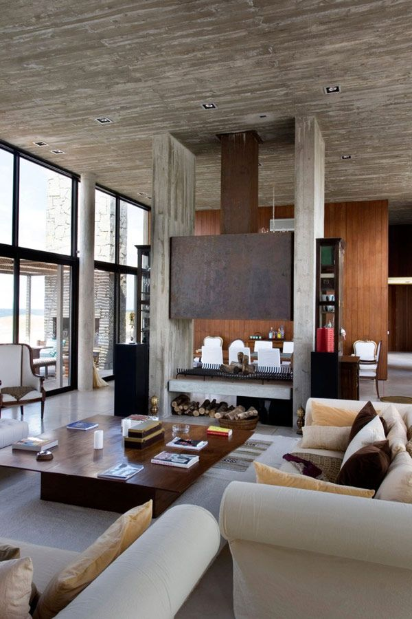 Modern living room dining room love the fireplace for Muebles martin gomez