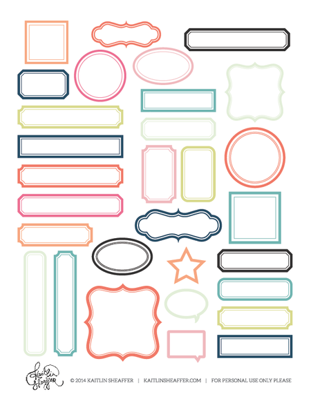 Free print and cut printable with frames. Several color to chose ...