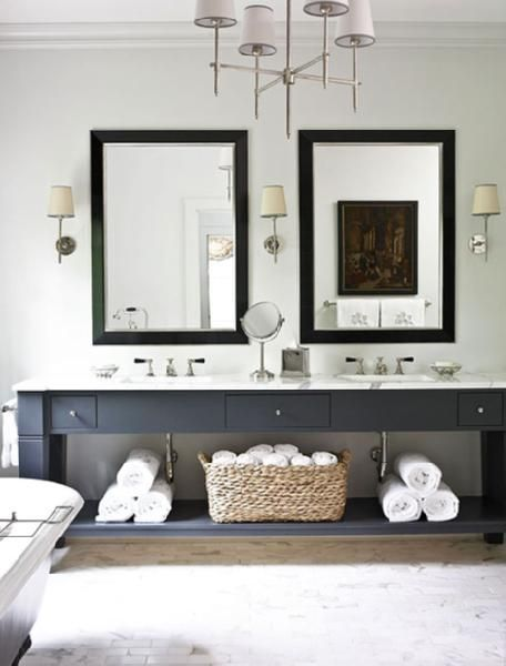 black/ gray open vanity with drawers and shelf  Thomas OBrien
