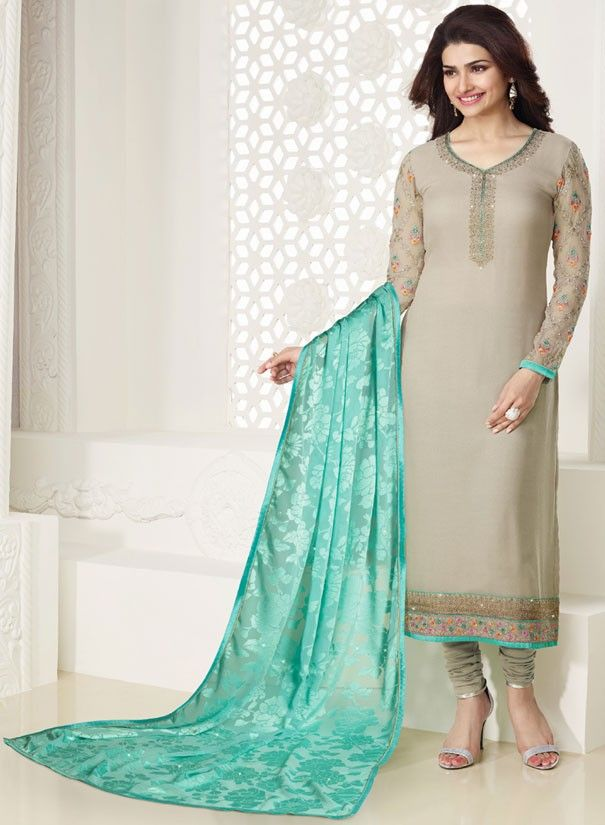 de6a2a3796 Prachi Desai Ash Grey Churidar Kameez Set … | Pak suits | Salwa…