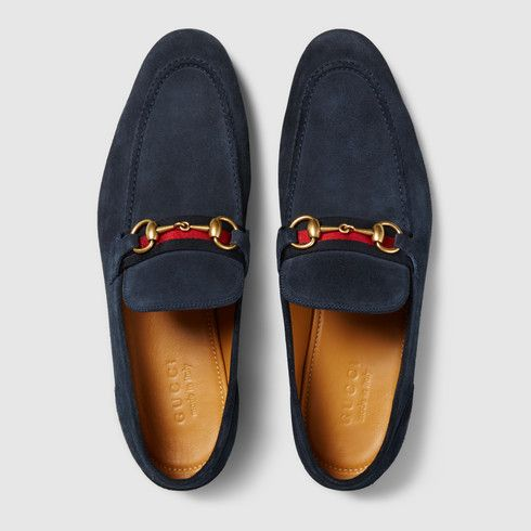 cf4c81e6044 Horsebit suede loafer with Web - Gucci Men s Moccasins   Loafers  322500CMA404071