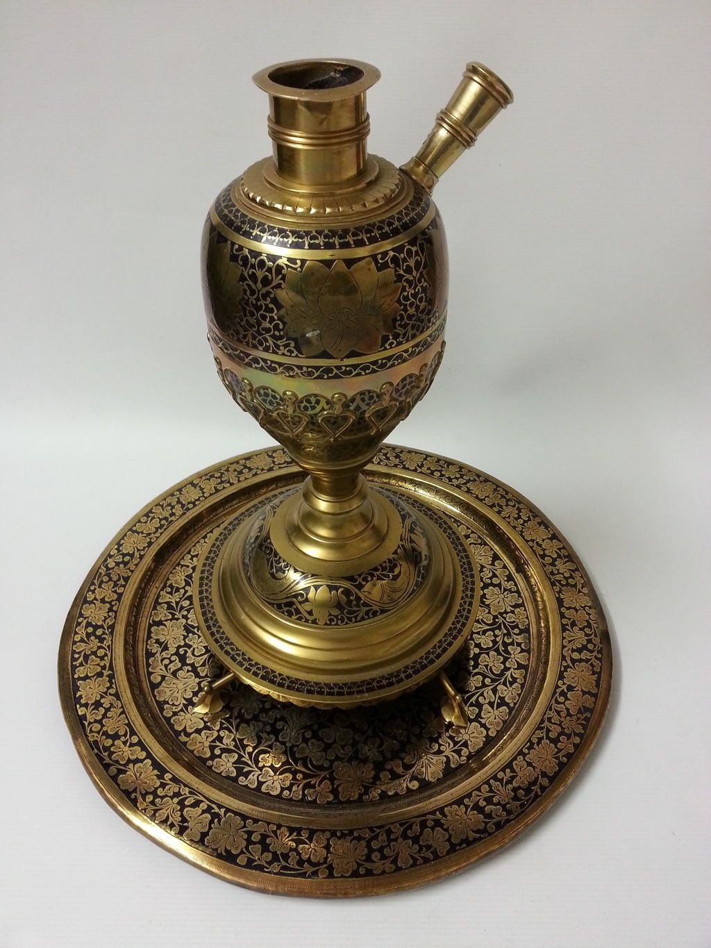 Very Decorative Large Persian Islamic Indian Brass Hookah Base And Tray Set Ebay