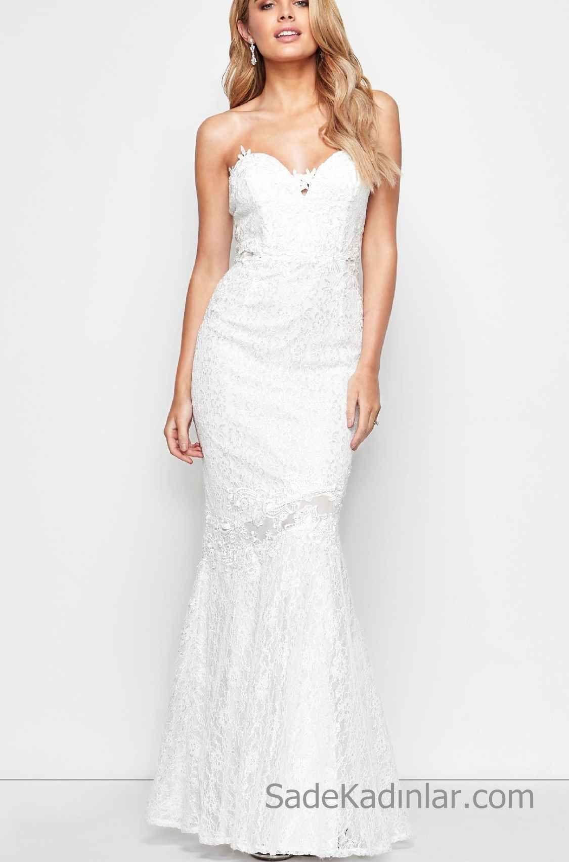 7b8495f5d3a37 2018 Beyaz Elbise Modelleri Uzun Dantel ve Straplez Abiye in 2019 ...
