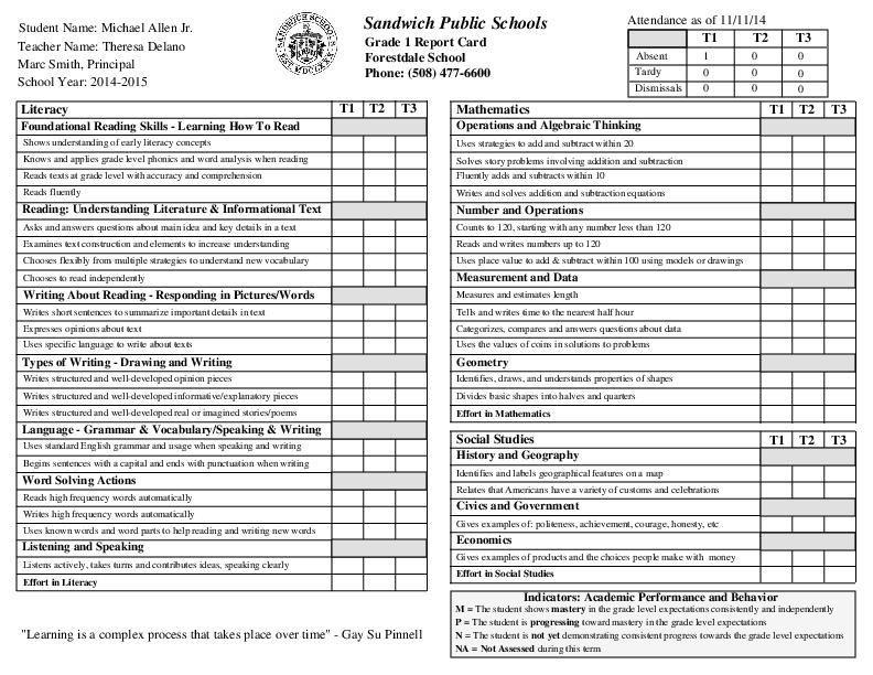 Grade 1 report card with images kindergarten report