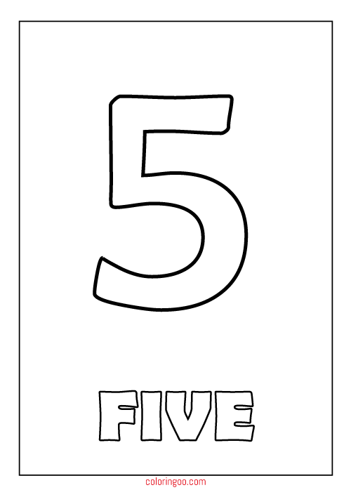 Printable Number 5 Five Coloring Page Pdf For Kids Printable Numbers Coloring Pages Numbers For Kids