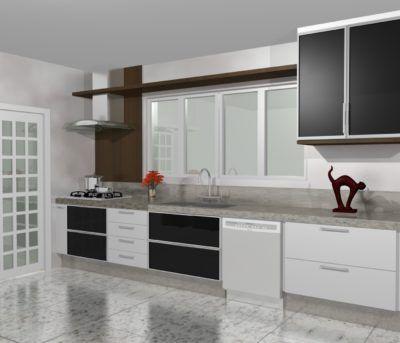 Armario Para Cozinha Planejada Branco E Preto Com Detalhe Em