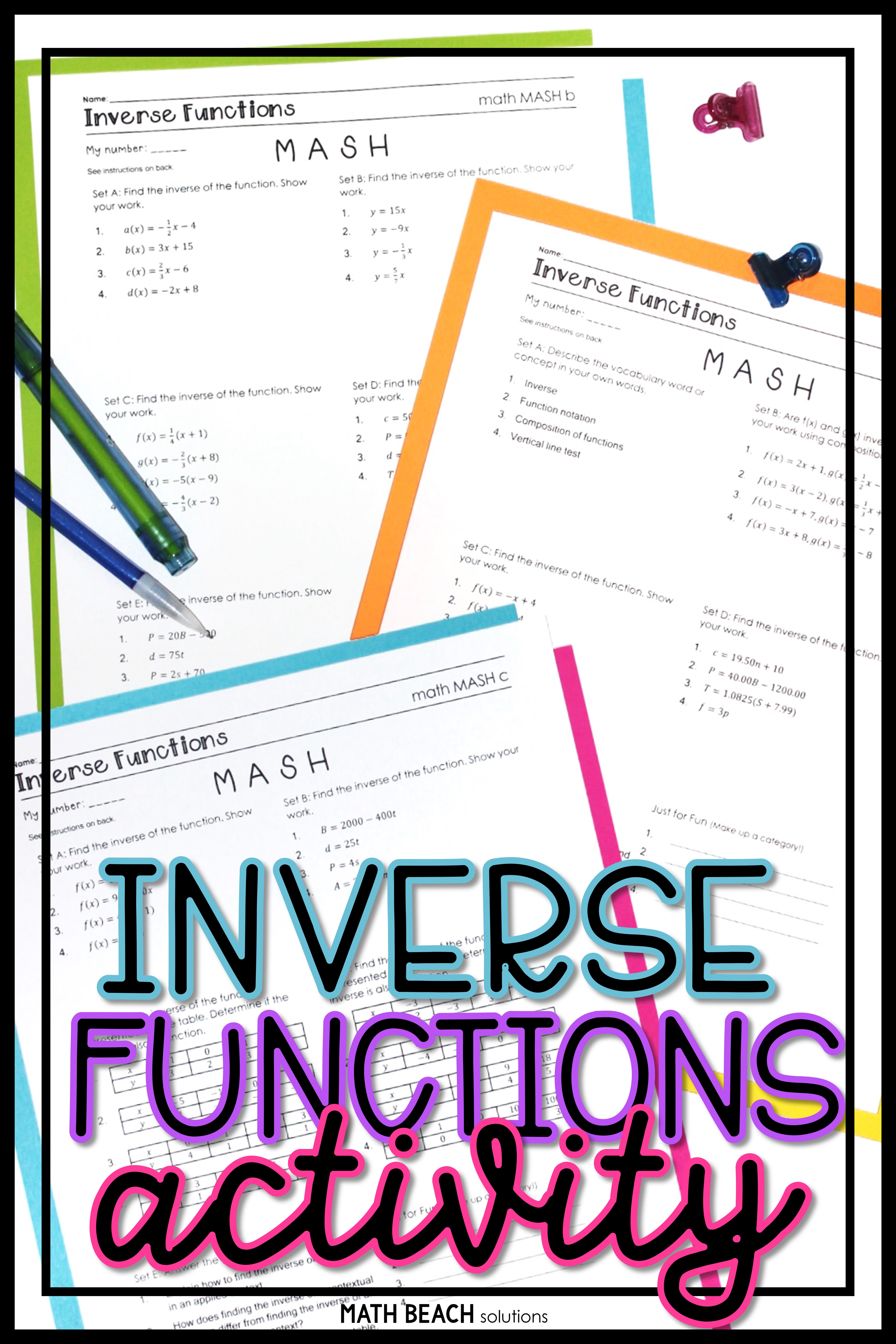 Inverse Relations And Functions Math Mash Activity
