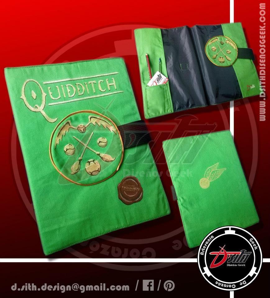 Quidditch - Protector de Cuadernos Geek, confeccionado y pintado a mano :)