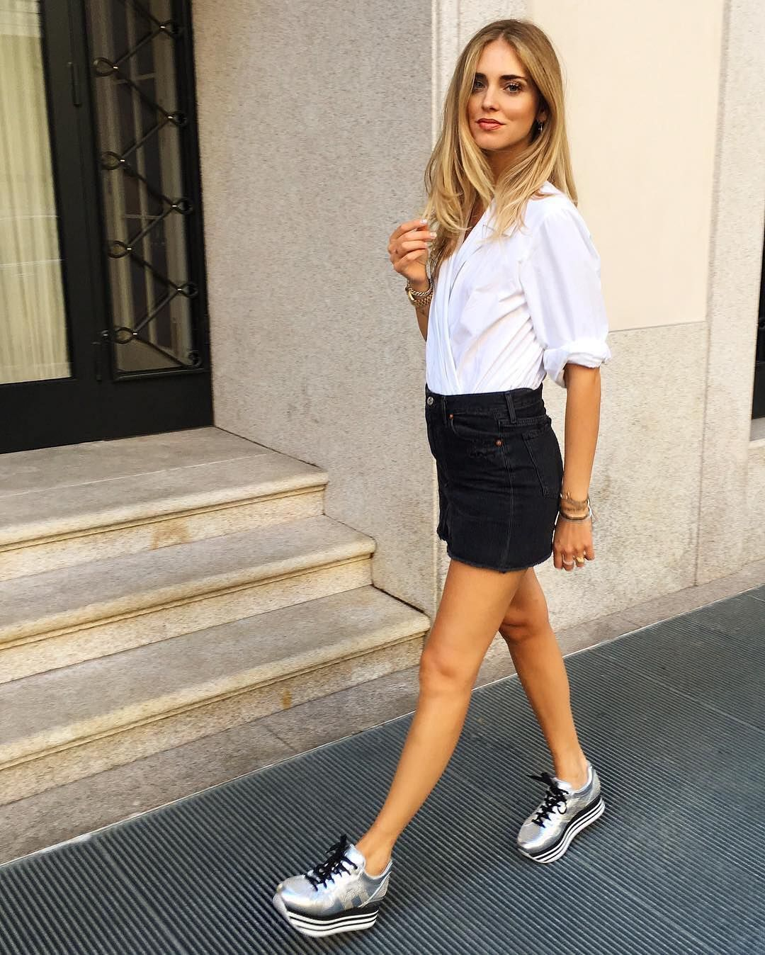 9e9a742f36a Chiara Ferragni wearing  HOGAN  H222 Maxi Platform  sneakers  HoganClub  Join the  HoganClub  lifestyle and share with us your  hoganbrand pictures  on ...