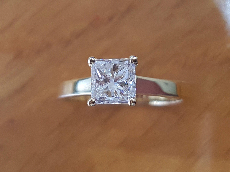 carat diamond solitaire engagement ring princess diamond ring