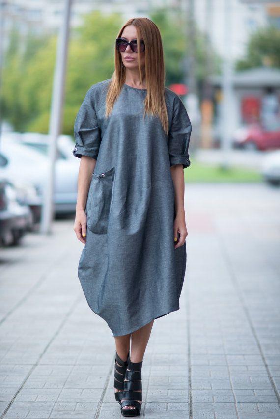 Dark Grey Oversized  Dress / Tunic with Big Pocket / by EUGfashion