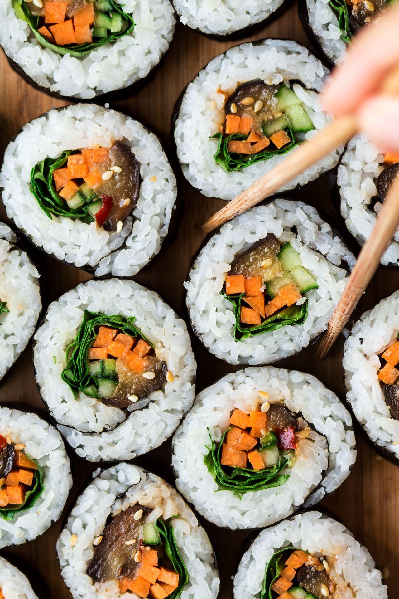 Eggplant Sushi Lazy Cat Kitchen Recipe Vegetarian Sushi Recipes Vegetarian Sushi Sushi Recipes