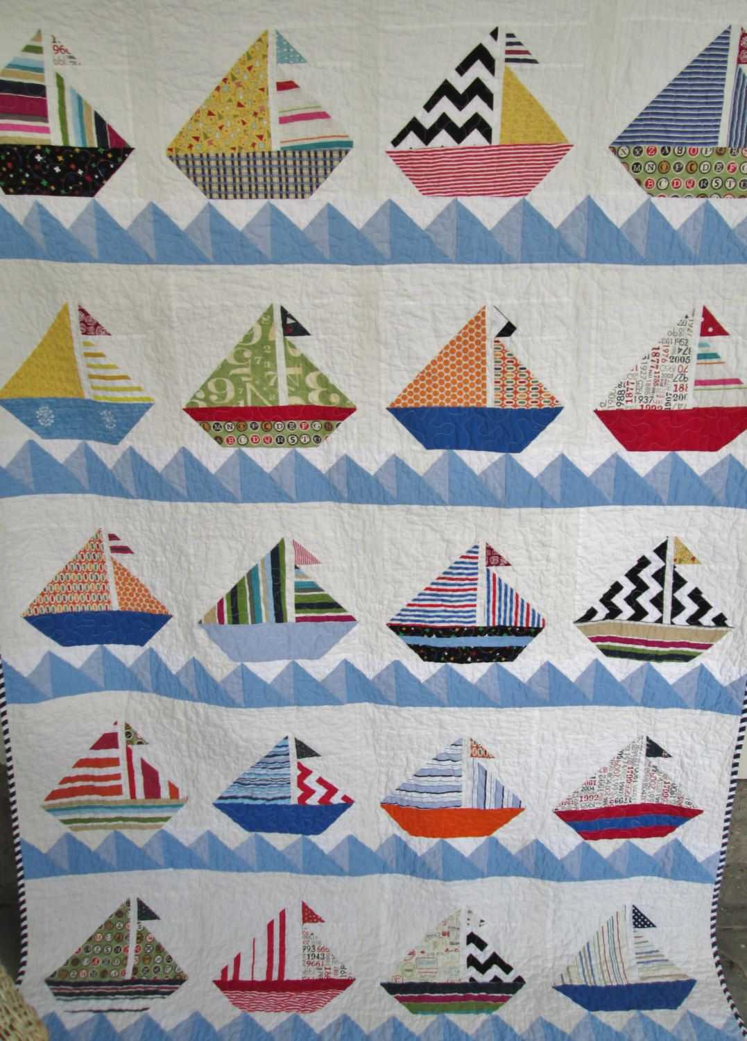 Sailboat Quilt Nautical Cottage Quilt Lake House Quilt