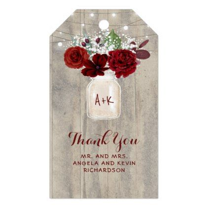Baby S Breath And Burgundy Flowers Rustic Wedding Gift Tags Fl Flower Design Unique Style
