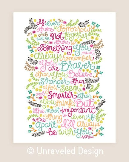 A.A.Milne Quote Illustration Print