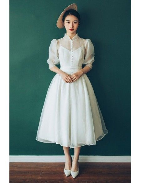 Vintage Chic Tea Length Bubble Sleeves Weddding Dress with Collar 70s 80s Style #E8936