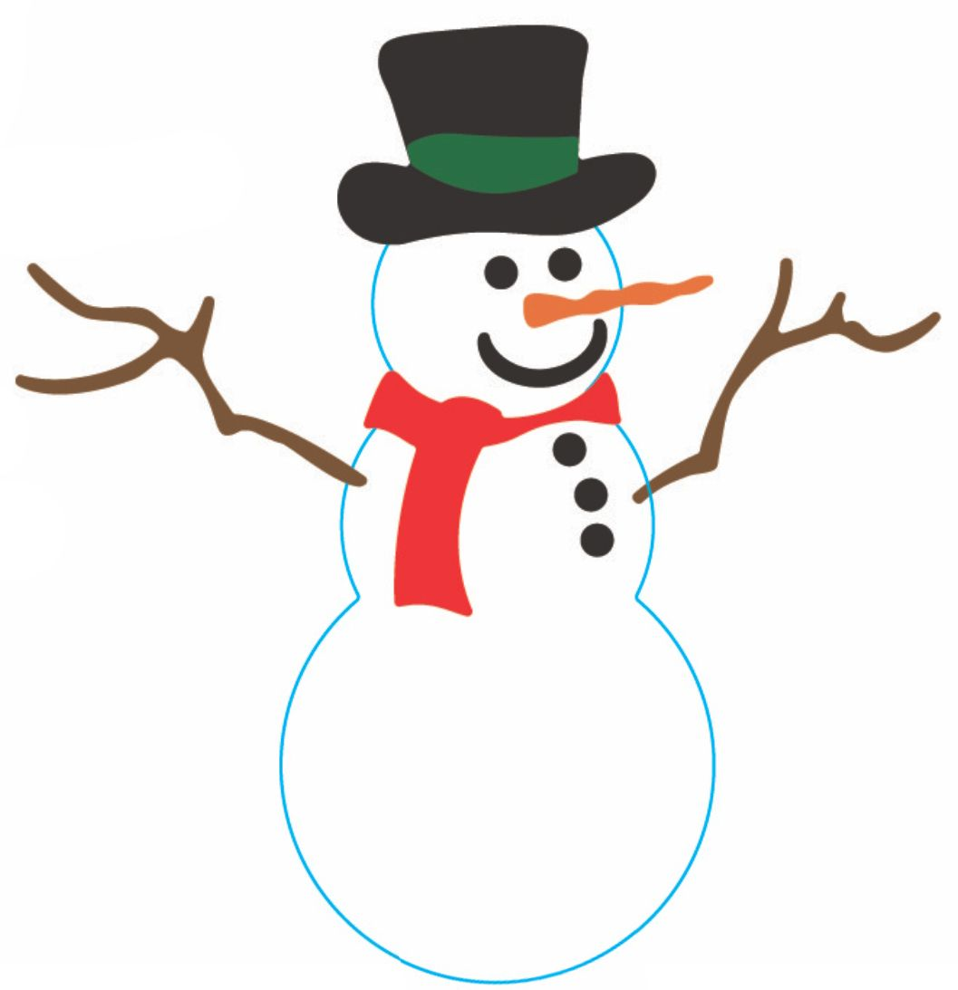 Make A Snowman Blindfolded Cut Out A Snowman Silhouette