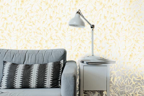 Love the contrast of this wallcovering against the gray
