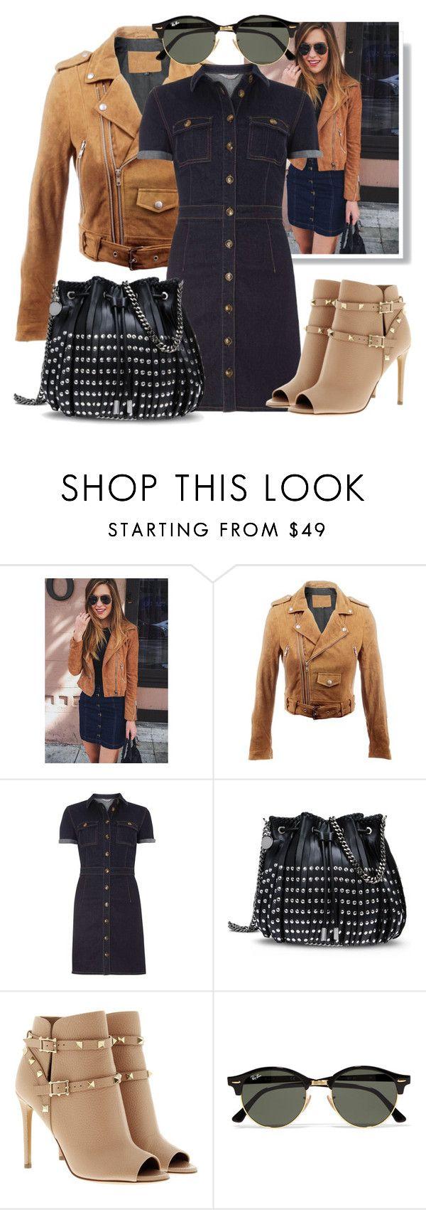 """Denim dress&leather jacket"" by minaagar liked on Polyvore"