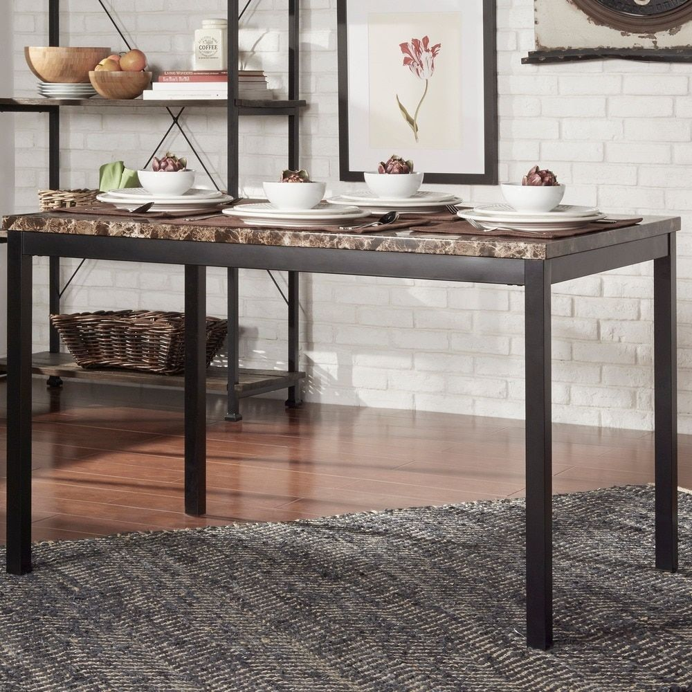 Darcy Faux Marble Black Metal Dining Table by INSPIRE Q