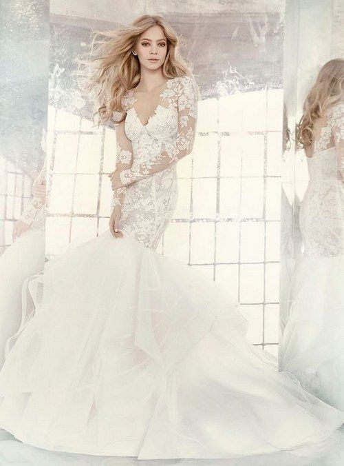 f9d9900634da Hayley Paige mermaid wedding dress with long lace sleeves / http://www.
