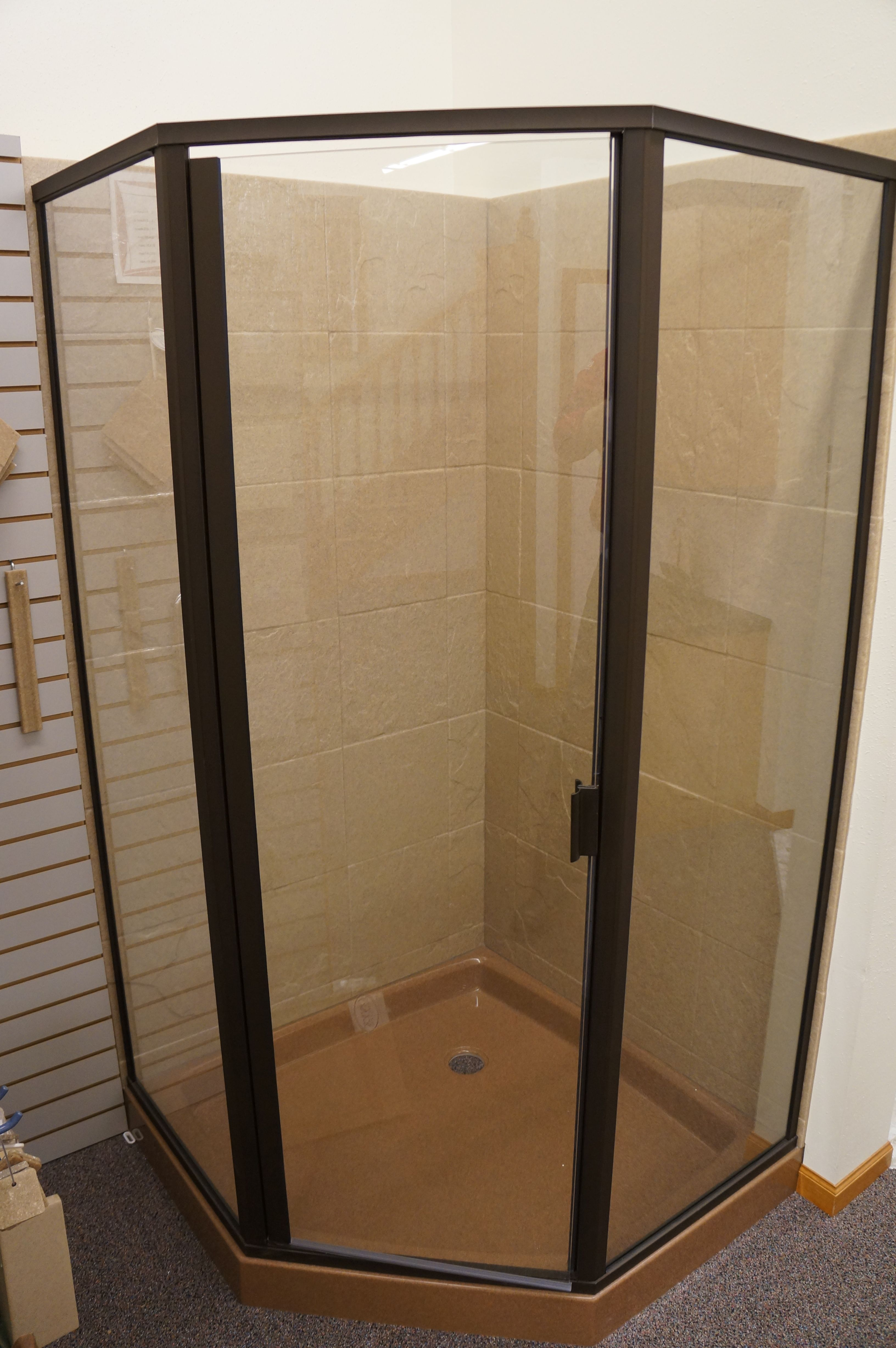 On Display In Our Showroom 42 Neo Angle Onyx Shower With