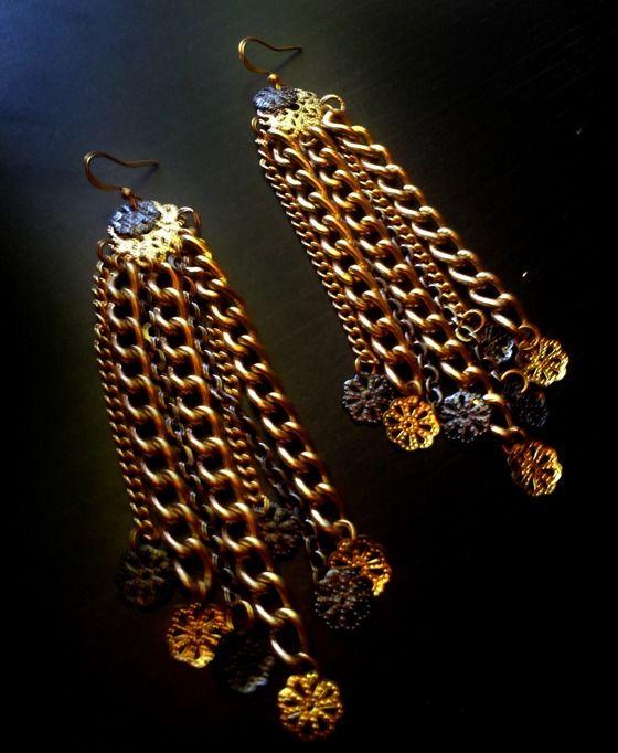 Copious is my Boyfriend - Gold & Gunmetal chain & filigree earrings $29.00