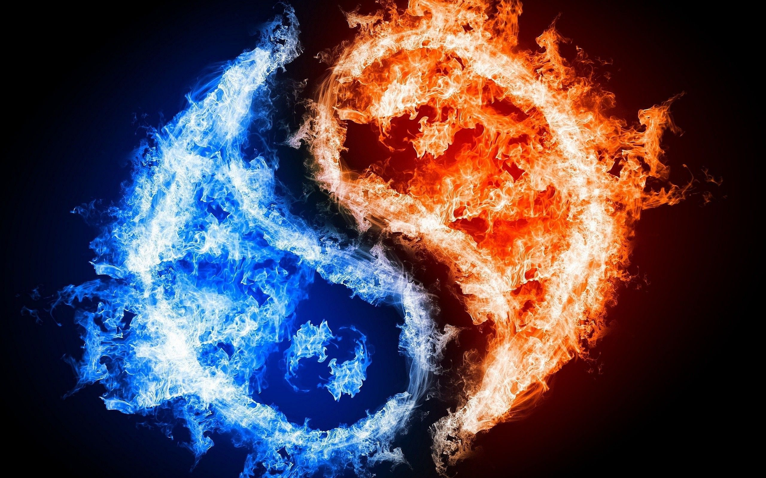 Yin Yang Fire Ice Fire And Ice Twin Flame Fire And Ice Wallpaper