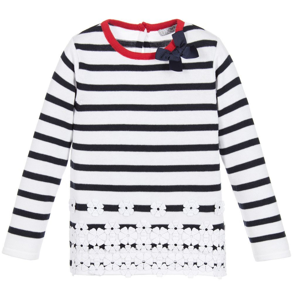 Dr. Kid - Girls Navy Blue Striped Cotton Sweater | Childrensalon ...