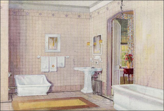 1922 crane plumbing fixtures - early english revival bathroom, Badezimmer ideen