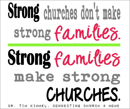 Strong churches don\'t make strong families. Strong families ...