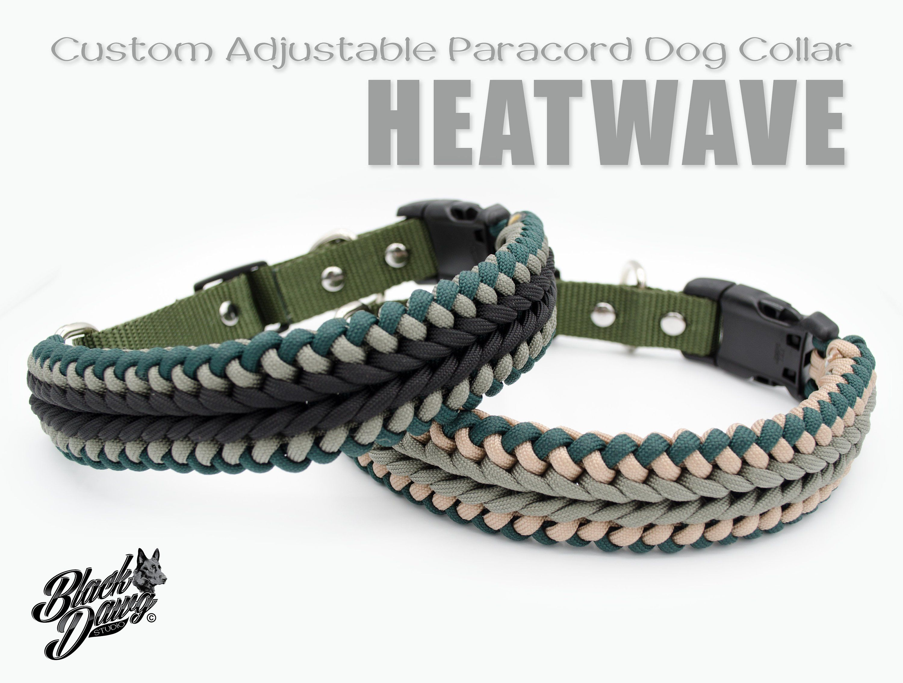 Custom Adjustable Paracord Dog Collar Heatwave Design By