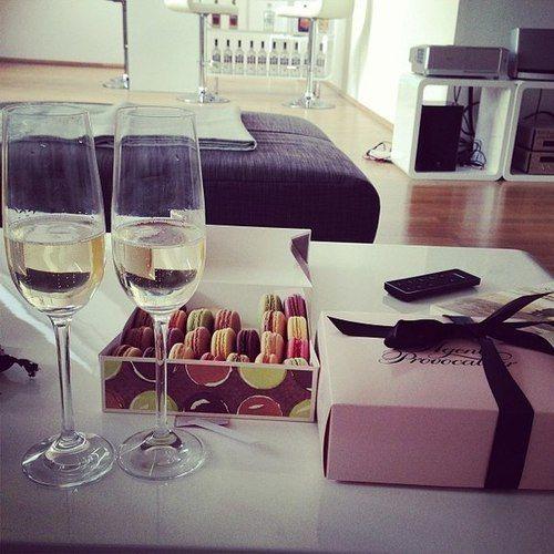 Macaroons, Lingerie, & Wine