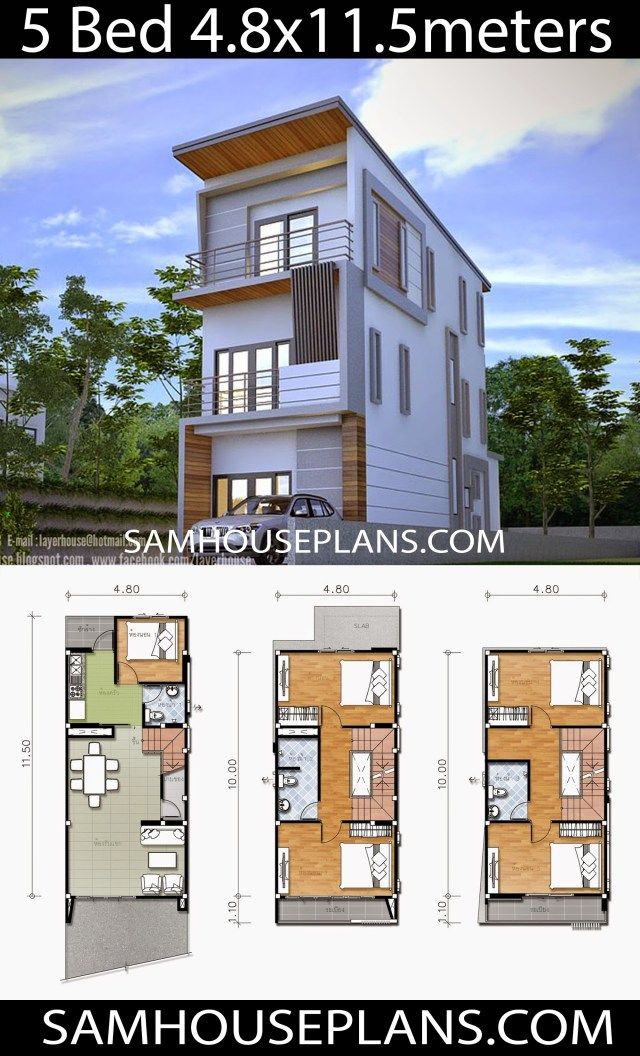 House Plans 4 8x11 5 with 5 Bedrooms is part of Narrow house plans, Model house plan, Small house plans, Modern house floor plans, Narrow house designs, Architecture house - House Plans 4 8x11 5 with 5 BedroomsInformation you should know of the model  Project 12Living area of the building The size of the building