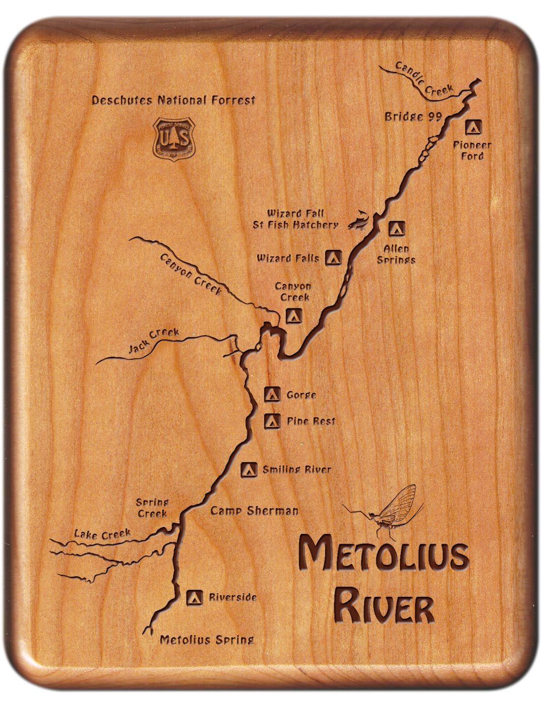 Metolius River Map Fly Box - Oregon - Cherry Wood | Oregon River Map