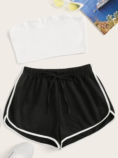 Crop Tube Top & Contrast Binding Tie Front Shorts Set #tubetopoutfits