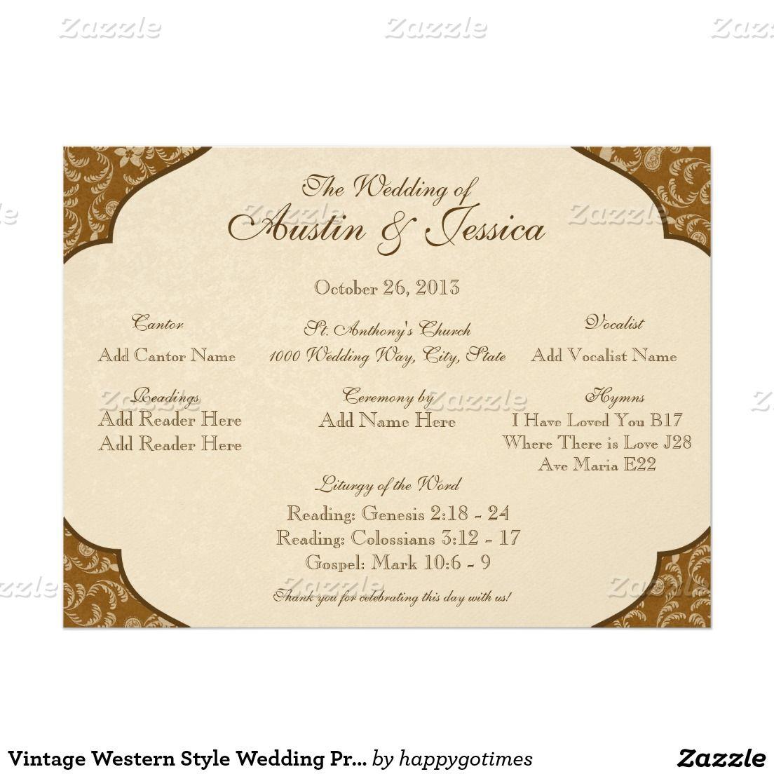 Vintage Western Style Wedding Program Card | Wedding: Ceremony ...