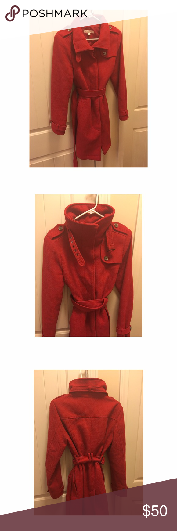 New York & Company coat This military style New York and Company coat is one of my absolute faves! It's a beautiful red color. 53% wool and 47% polyester. The lining is 100% polyester. It's a size medium and comes with a belt so can be adjusted. Absolutely no flaws. Barely worn. Recently dry cleaned as well. New York & Company Jackets & Coats Pea Coats