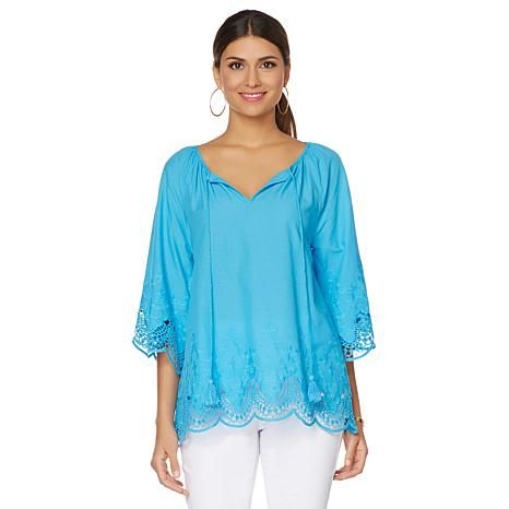 DG2 by Diane Gilman Cotton Voile Tunic with Lace Trim 482-186