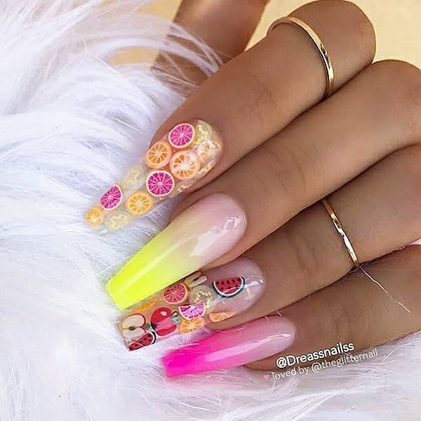 Colorful Neon Waves On Long Coffin Nails Nail Artist Tlnailz Follow Her Fo Coffin Nails Designs Fruit Nail Designs Summer Acrylic Nails