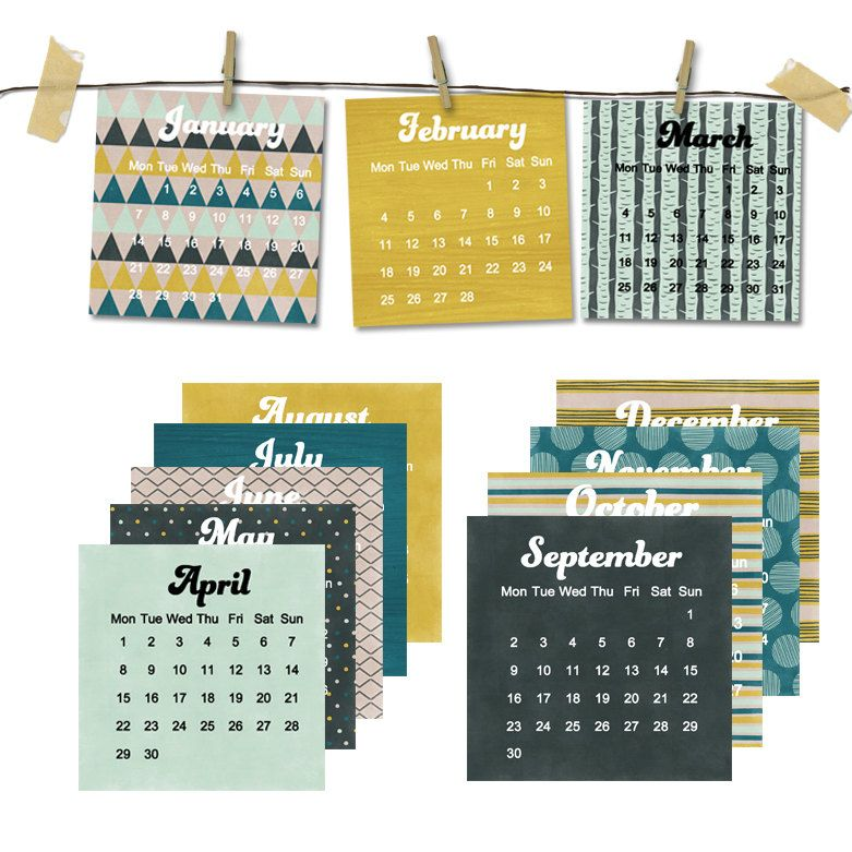 2013 Geometric Calendar ON SALE - 5x5 desk calendar - for work home ...