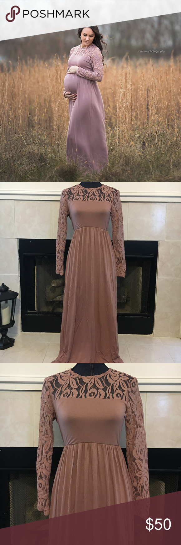 Small mauve lace long sleeve maternity maxi dress my posh closet