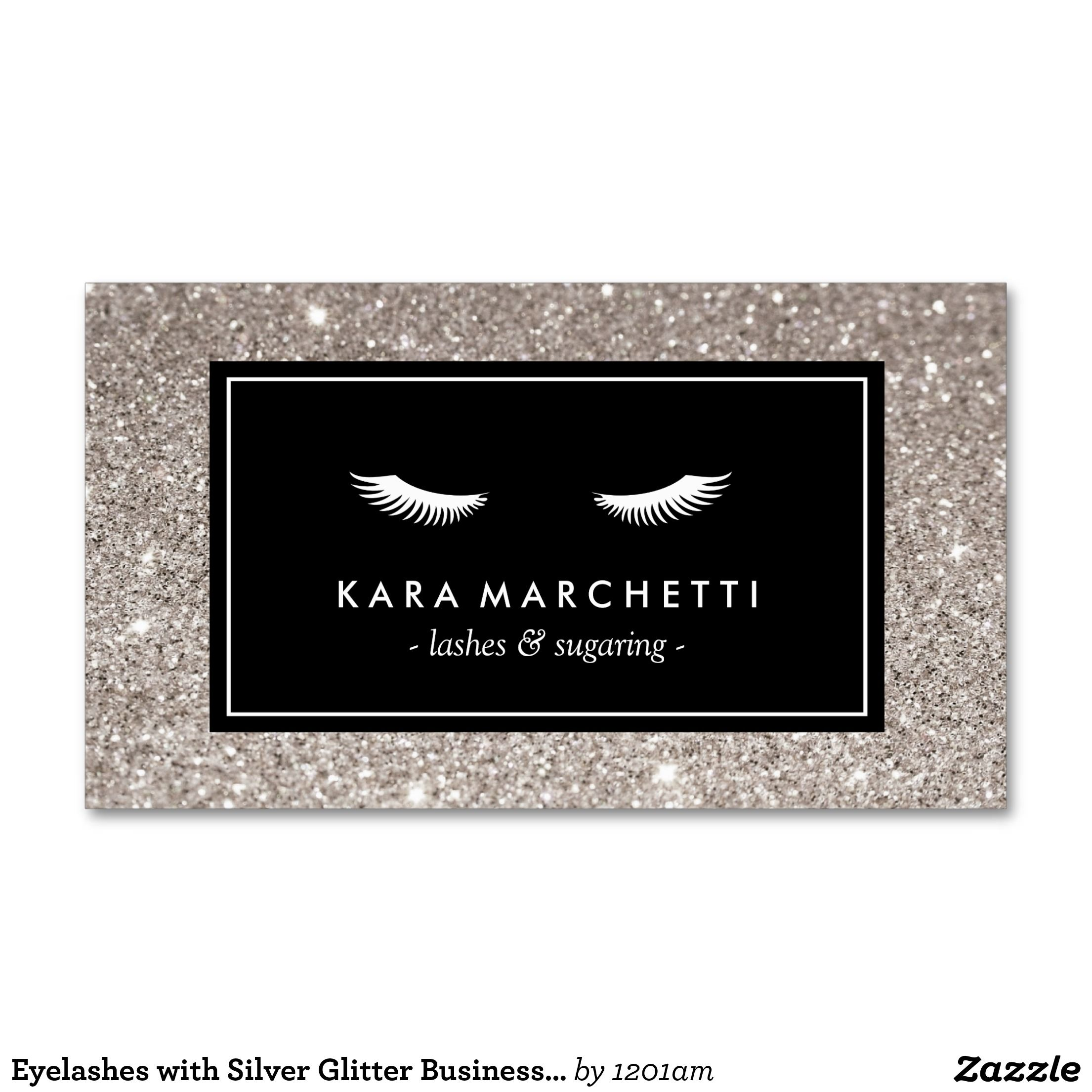 Eyelashes with Silver Glitter Business Card | Silver glitter and ...